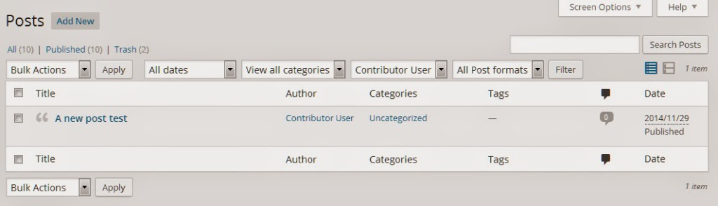 Custom Post Filters Only Contributor
