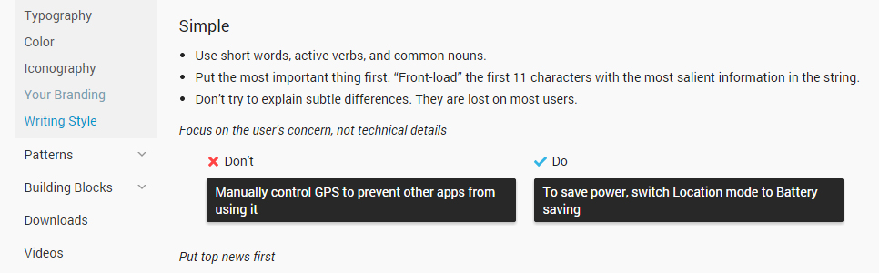 android guide to writing errors