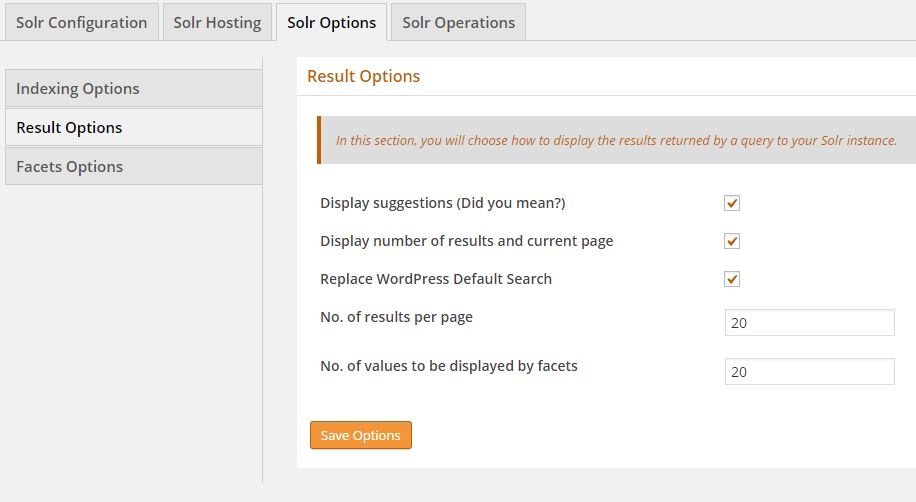 WPSOLR Solr Result Options