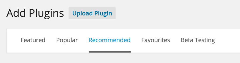 Recommended Plugins Filter