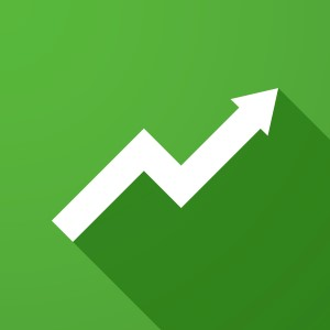 Long shadow icon with a graph