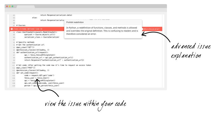 Screenshot of Codacy highlighting an error within code.