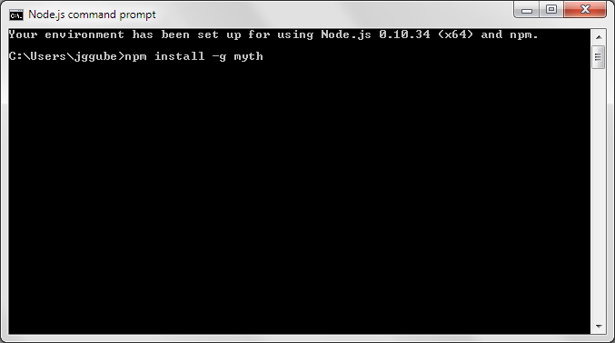 Installing Myth using npm and the Node.js command prompt