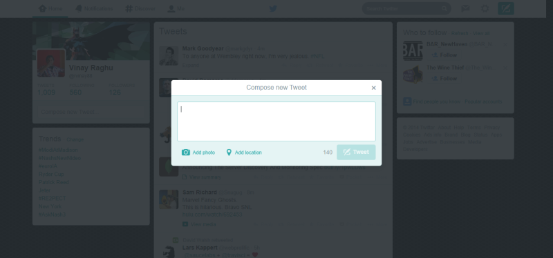 'Compose a tweet' modal dims all competing activity