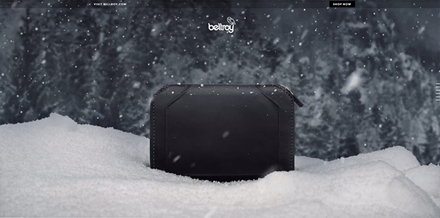 Bellroy site -- using falling snow