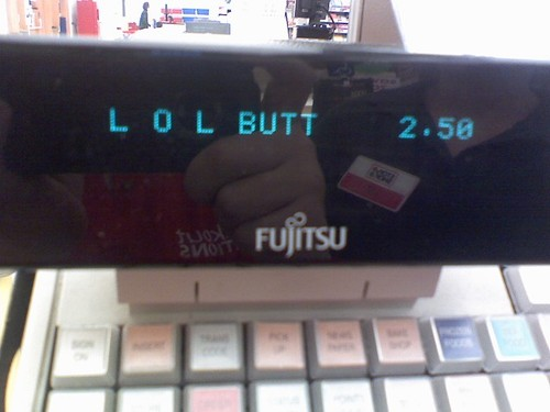 Cash register shortening butter brand to 'LOL BUTT'