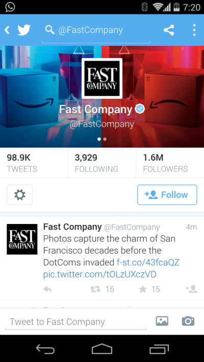 Twitter - Fast Company's page