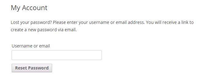 WooCommerce lost password message
