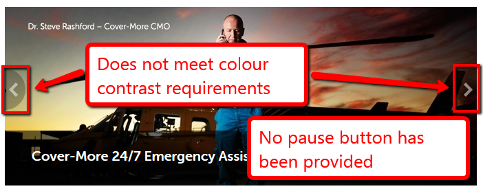 Slideshow includes an image of a man in front of a helicopter. Arrows that do not meet colour contrast are provided to the very right and the very left of the slideshow. No pause button has been provided.