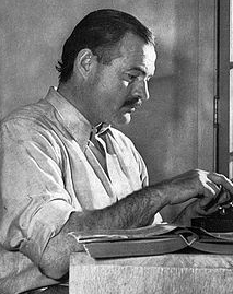 Hemingway at work in the 1930's