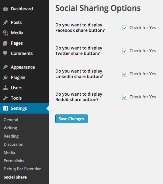 WordPress Social Sharing Options