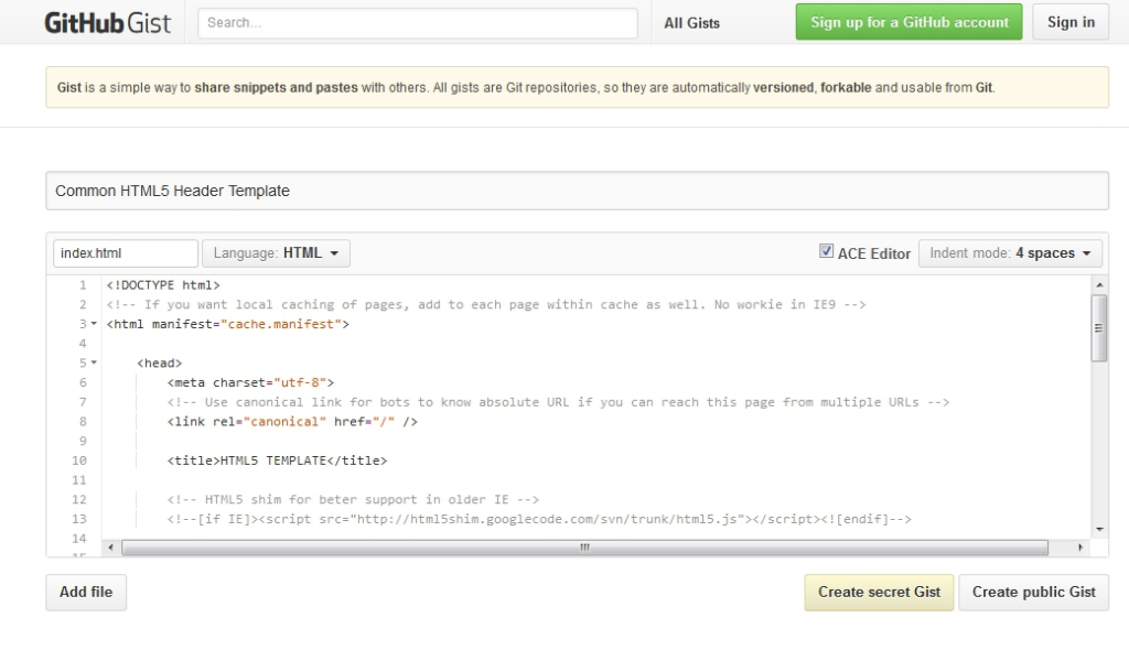 A gist in GitHub