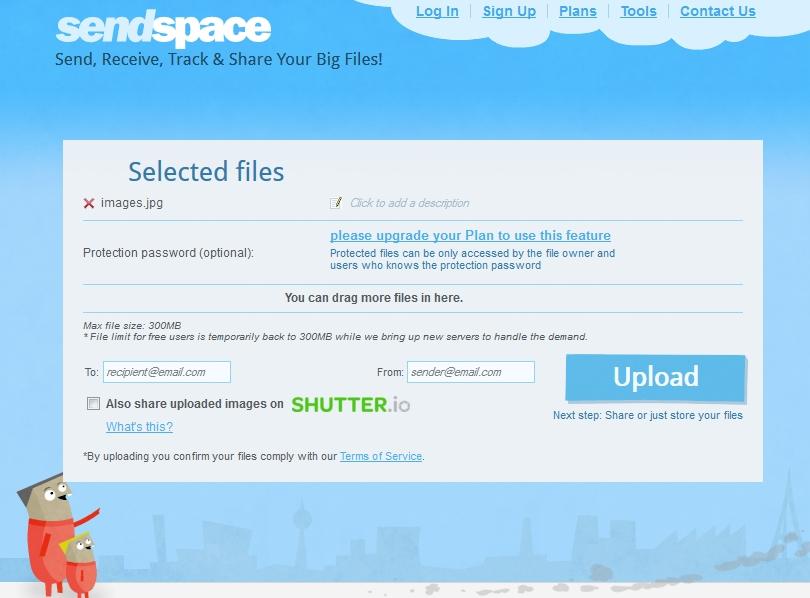 Sending a file on Sendspace