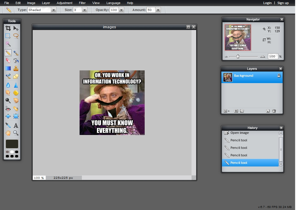 Editing a sarcastic Wonka image in Pixlr