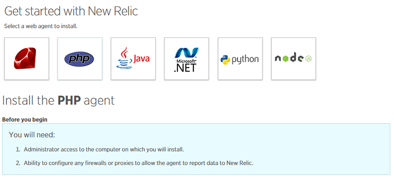 New Relic's dashboard