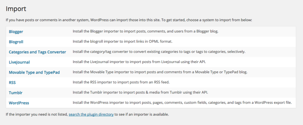 Native WordPress Import