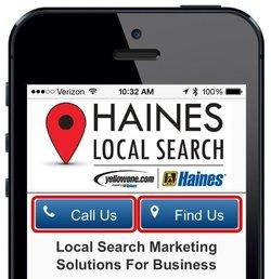 A mobile site with buttons for calling or finding the business' physical address