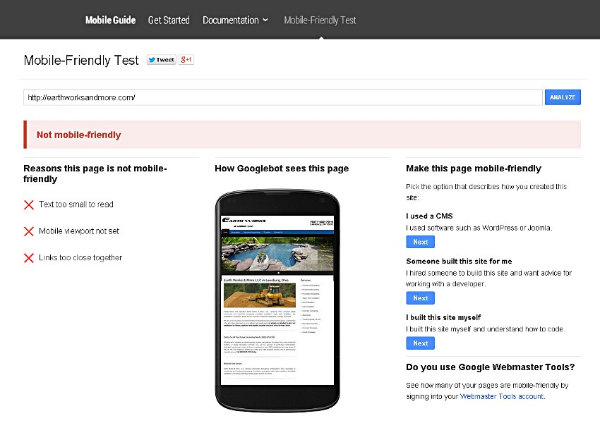 Google's mobile friendly test page showing a user their site is not mobile friendly