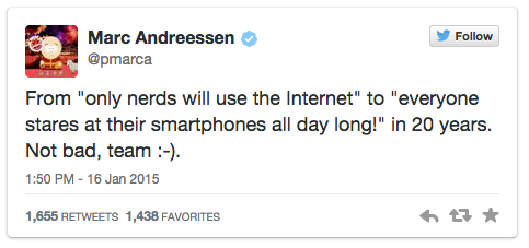 Marc Andreessen tweets about the crazy success of the internet and mobile in particular