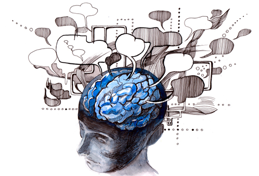 Artwork: human with many speech bubbles festooning brain