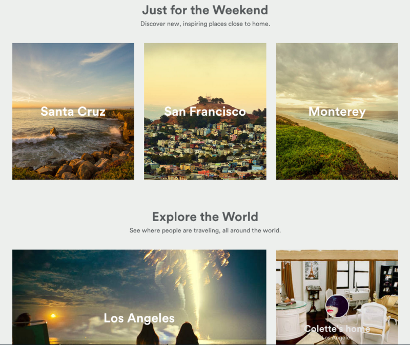 The Airbnb site - Just for the weekend
