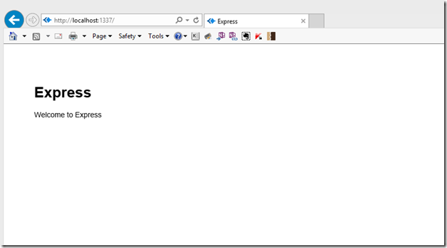 The Front-end of the Express App in IE