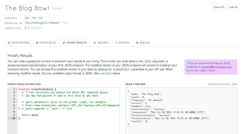 JS modify API