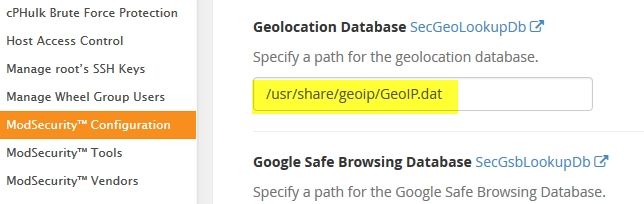 ModSecurity Geolocation Database