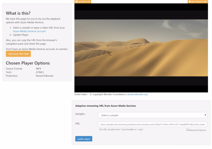 The Azure media streaming options