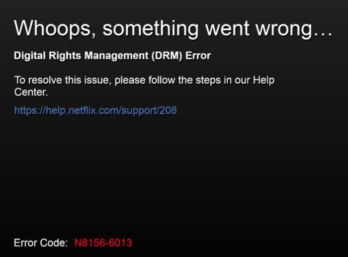 An example of a Netflix DRM error