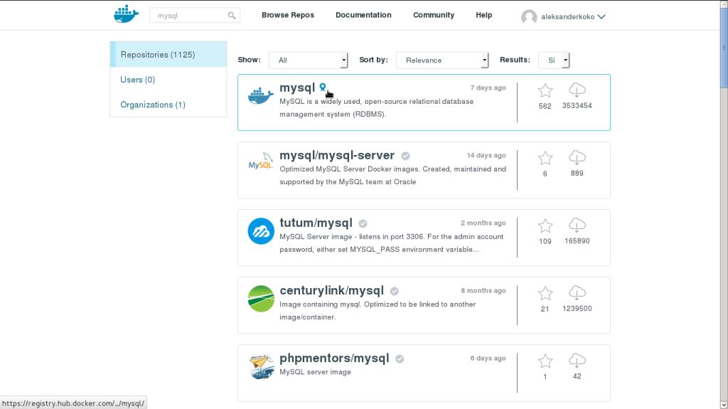 MySQL docker image
