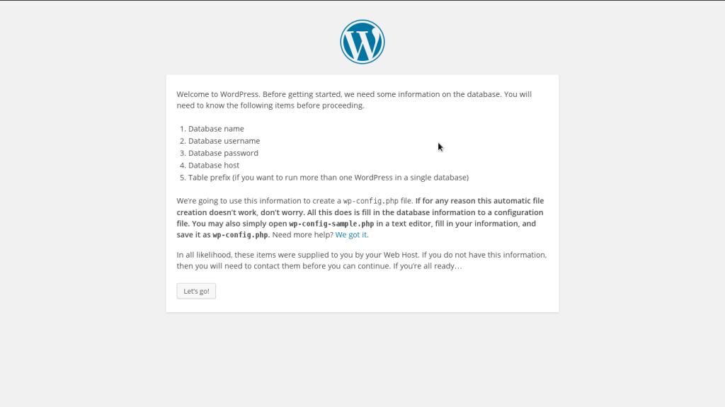 Welcome WordPress Screen
