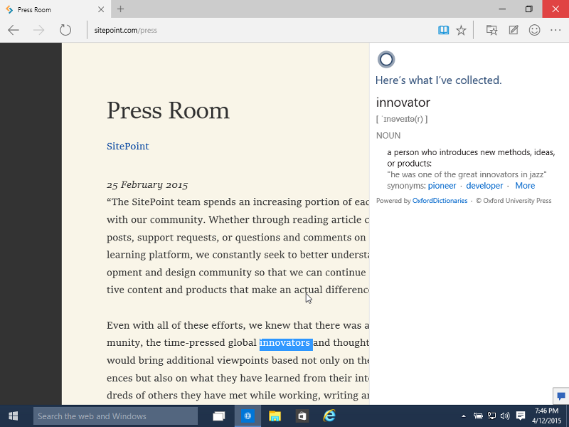 Cortana Integration