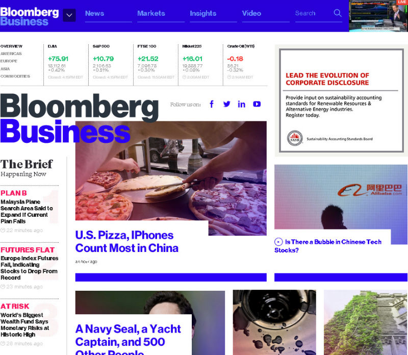 Bloomberg website on Chrome