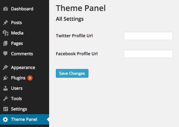 Theme Settings API Social Profiles