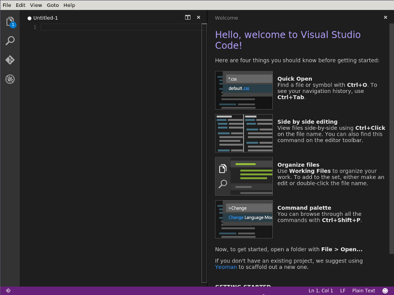Visual Studio Code's welcome screen