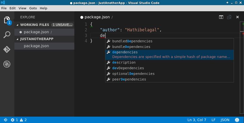 IntelliSense for JSON