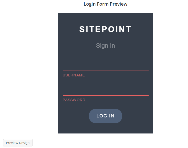 Custom WordPress Login Preview