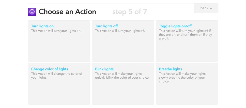 Choose LIFX action in IFTTT