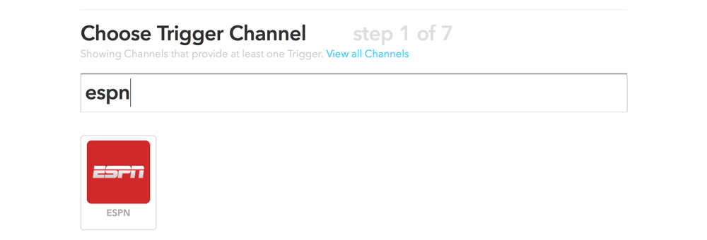 Choosing the ESPN trigger channel