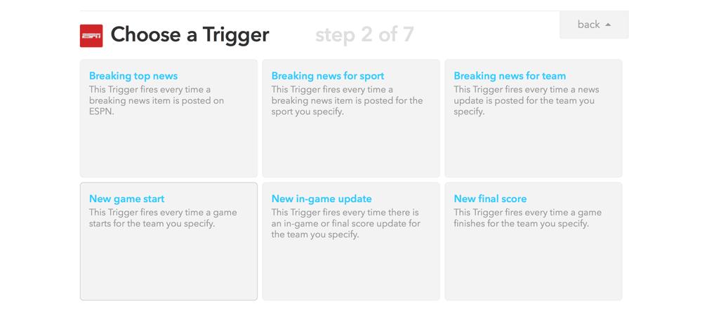 Choosing our Game Start ESPN trigger