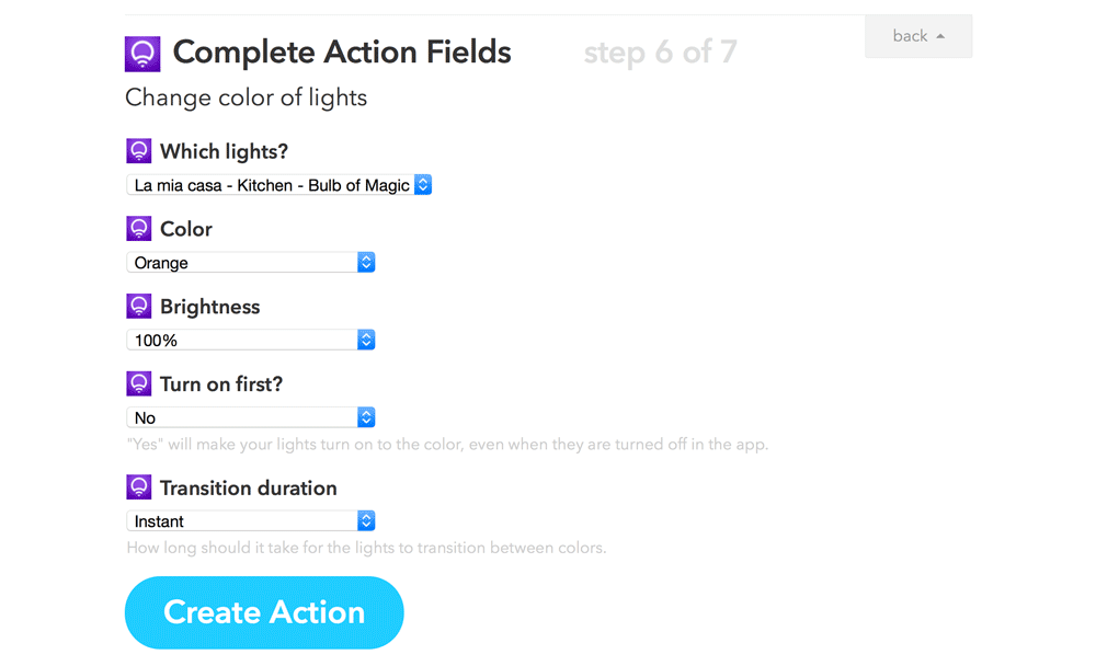 Setting LIFX color action fields