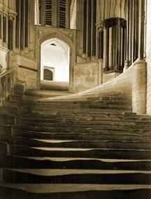 Church interior: Worn steps show the path followed.