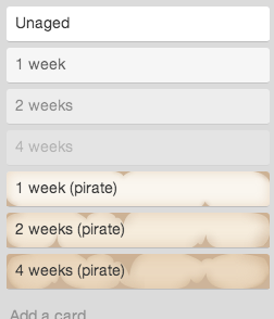 Trello cards showing their age.