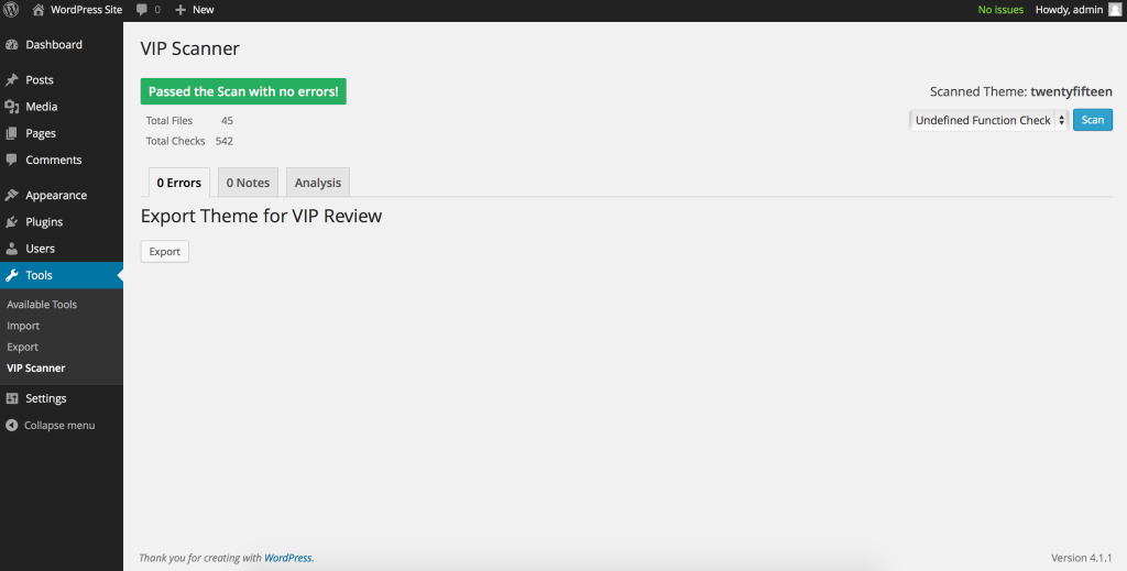 Undefined Function in the VIP Scanner Plugin for WordPress
