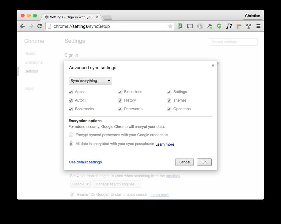 Google Chrome's advanced sync settings