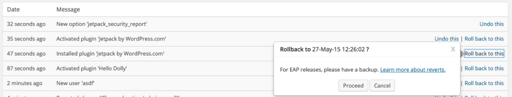 Rollback Example in VersionPress