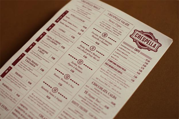 Crespella menu design by Tag Collective