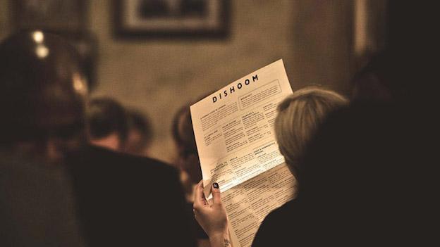 Dishoom menu in use
