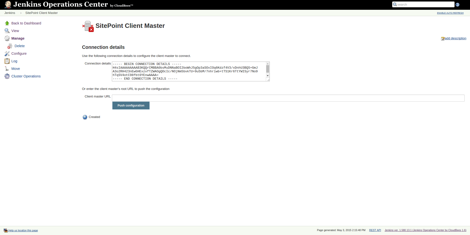 Connecting client master to CloudBees Jenkins Operation Center